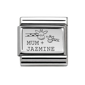 Classic Silver Charm Engraved with Mum & Name Giraffe
