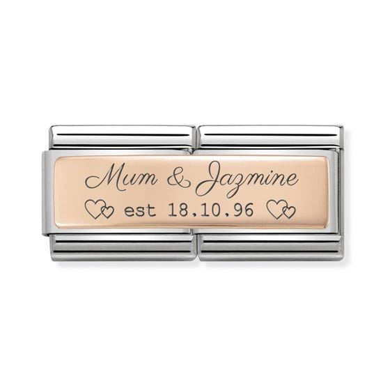 Classic Rose Gold Double Charm Engraved with Mum & Name Est. Date