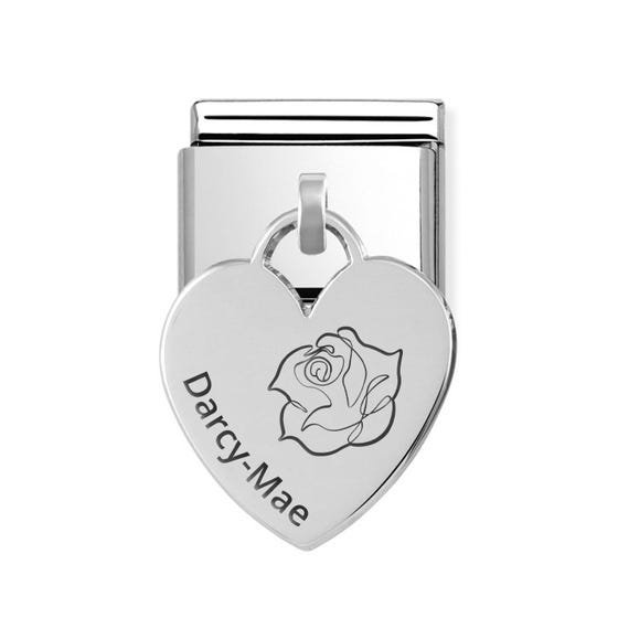 Classic Silver Heart Pendant Charm Engraved with Rose & Name