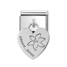 Classic Silver Heart Pendant Charm Engraved with Lily & Name