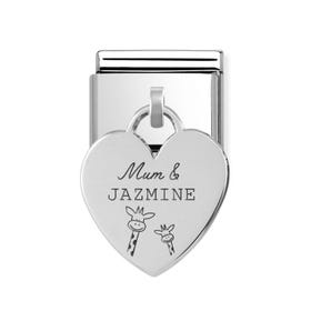 Classic Silver Heart Pendant Charm Engraved with Mum & Name Giraffe