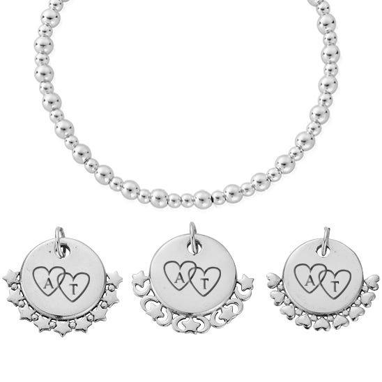 Silver Heart Initials Didi Bracelet