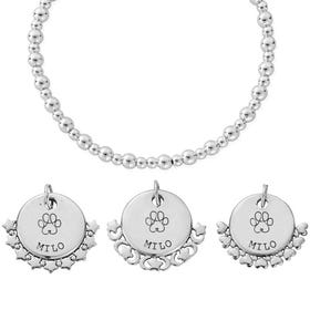 Silver Paw Print Name Didi Bracelet