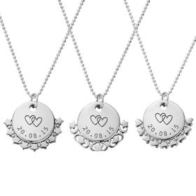Silver Date With Hearts Diamond Cut Adjuster Necklace
