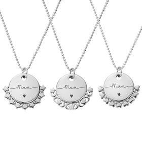 Silver Mum Handwritten Diamond Cut Adjuster Necklace