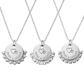 Silver Mother & Daughter Love Heart Diamond Cut Adjuster Necklace