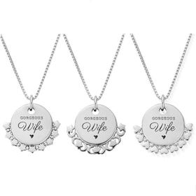 Silver Gorgeous Wife Disc Box Chain Necklace