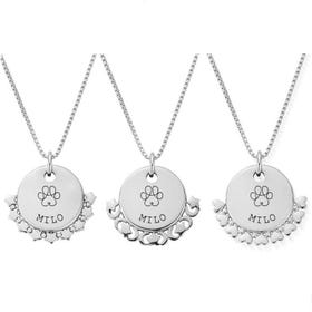 Silver Paw Print Name Disc Box Chain Necklace