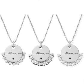 Silver Mum Handwritten Disc Box Chain Necklace
