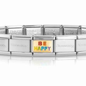 Classic Gold Be Happy Rainbow Charm Bracelet