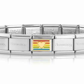 Classic Gold Rainbow Flag Heart Charm Bracelet