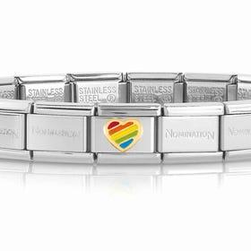 Classic Gold Heart Rainbow Charm Bracelet