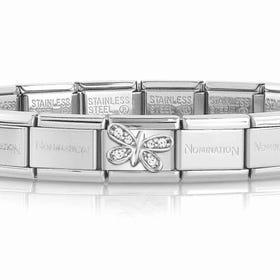 Classic Silver & CZ Butterfly Charm Bracelet