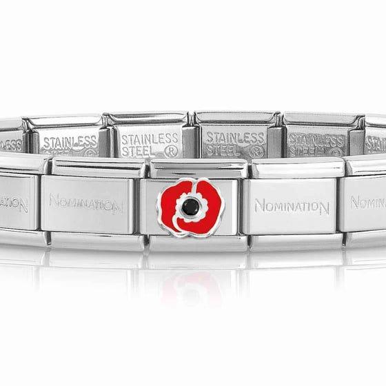 Classic Silver Black CZ Poppy Charm Bracelet
