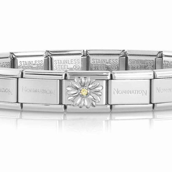 Classic Silver Yellow Zirconia Daisy Charm Bracelet