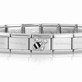 Classic Silver & CZ Bee Charm Bracelet