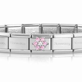 Classic Silver Pink CZ Flower Charm Bracelet