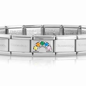 Classic Silver & CZ Rainbow Charm Bracelet