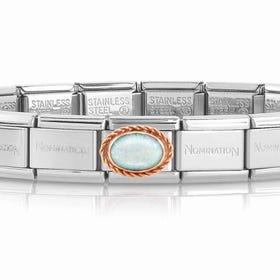 Classic Rose Gold White Opal Charm Bracelet