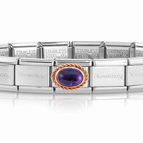 Classic Rose Gold Amethyst Charm Bracelet