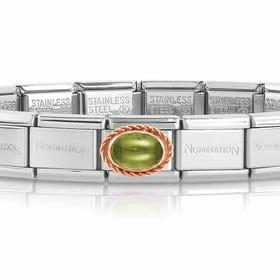 Classic Rose Gold Peridot Charm Bracelet