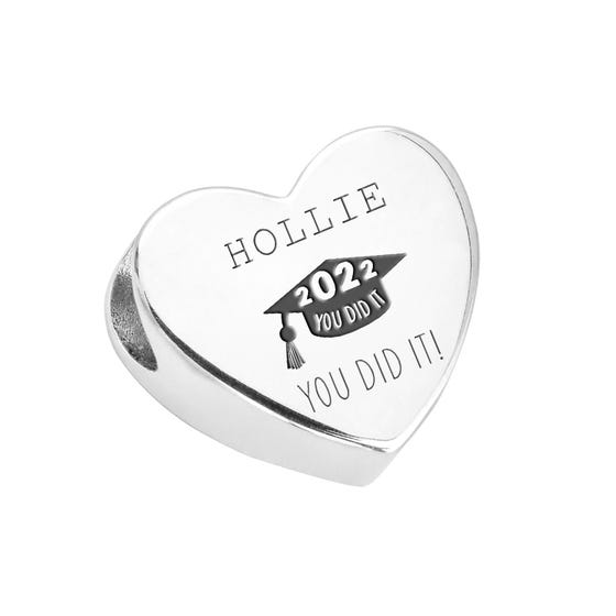 Silver 2021 You Did It Name Heart Charm