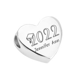 Silver Graduation 2021 with Name Heart Charm