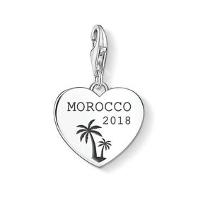 Charm Club Silver Holiday Destination with Date Heart Charm