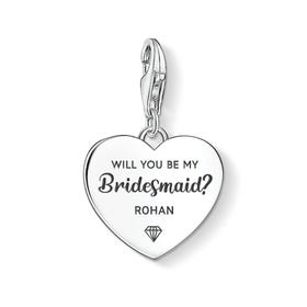 Charm Club Silver Will You Be My Bridesmaid Name Heart Charm
