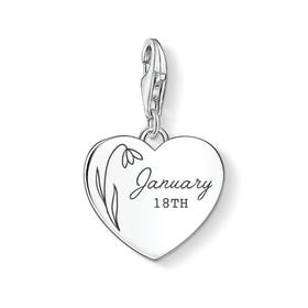 Charm Club Silver January Birth Flower & Date Heart Charm