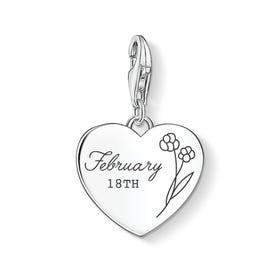 Charm Club Silver February Birth Flower & Date Heart Charm
