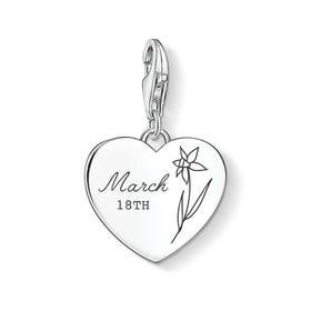 Charm Club Silver March Birth Flower & Date Heart Charm