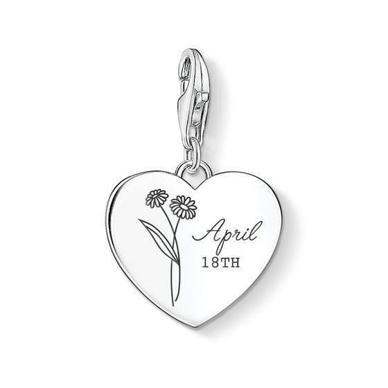 Charm Club Silver April Birth Flower & Date Heart Charm