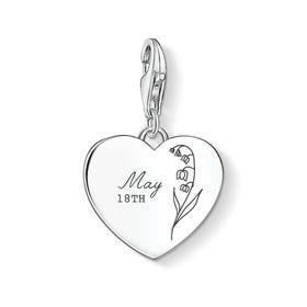 Charm Club Silver May Birth Flower & Date Heart Charm