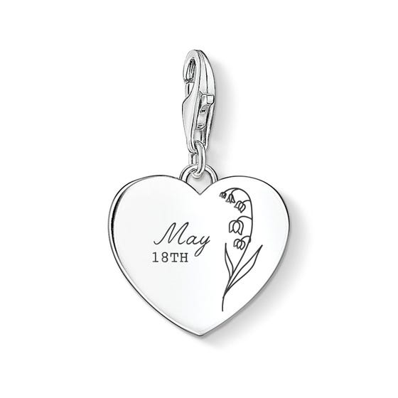 Charm Club Silver May Birth Flower & Date Heart Charm