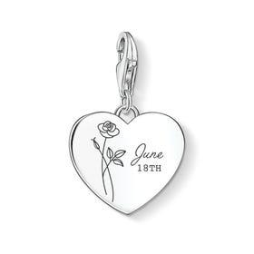 Charm Club Silver June Birth Flower & Date Heart Charm