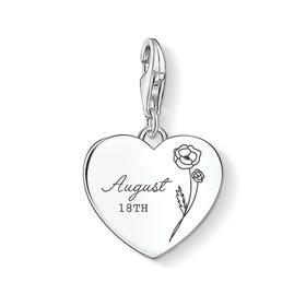 Charm Club Silver August Birth Flower & Date Heart Charm