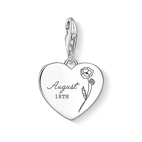Charm Club Silver August Birth Flower & Date Heart Charm