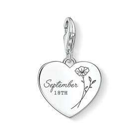 Charm Club Silver September Birth Flower & Date Heart Charm