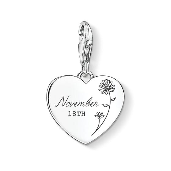 Charm Club Silver November Birth Flower & Date Heart Charm