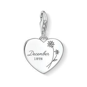 Charm Club Silver December Birth Flower & Date Heart Charm