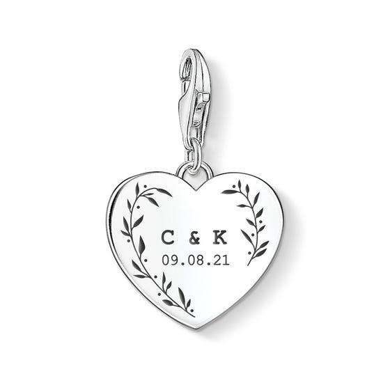 Charm Club Silver Leaf Initials & Date Heart Charm