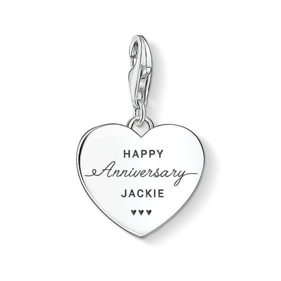 Charm Club Silver Happy Anniversary Name Heart Charm