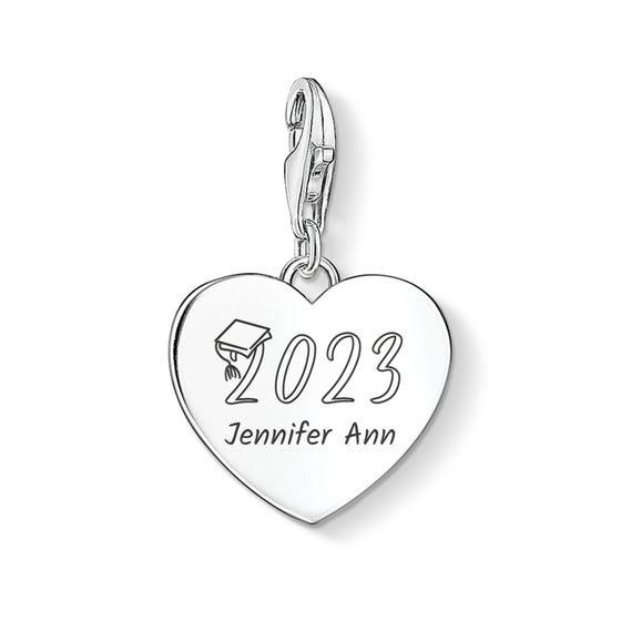 Charm Club Silver Graduation 2021 with Name Heart Charm
