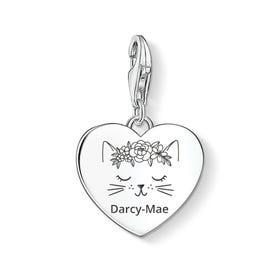 Charm Club Silver Cute Cat Name Heart Charm