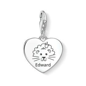 Charm Club Silver Cute Lion Name Heart Charm