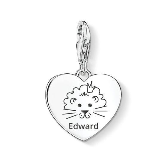 Charm Club Silver Cute Lion Name Heart Charm