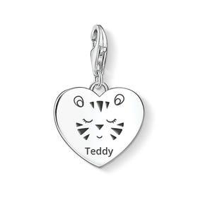Charm Club Silver Cute Tiger Name Heart Charm