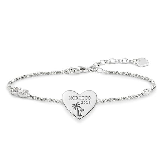 Silver Holiday Destination with Date Love Bridge Bracelet