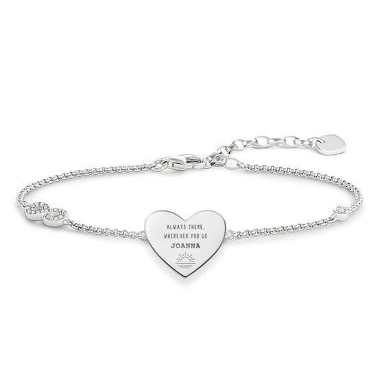 Silver Always There, Wherever You Go Name Love Bridge Bracelet